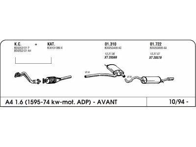 Izduvni lonac Audi A4 1.6 94-(srednji)