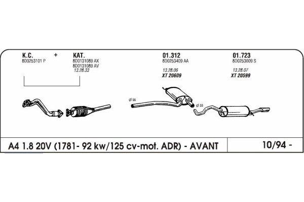 Izduvni lonac Audi A4 1.8 94-(srednji)