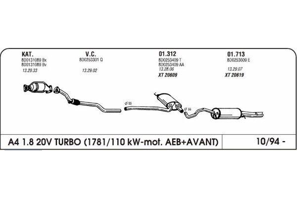 Izduvni lonac Audi A4 1.8 94-(zadnji)