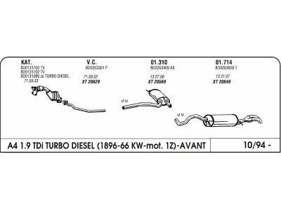 Izduvni lonac Audi A4 1.9 94-(srednji)