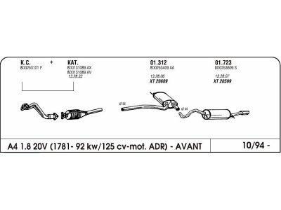 Izduvni lonac Audi A4 avant 1.8 94- (zadnji)