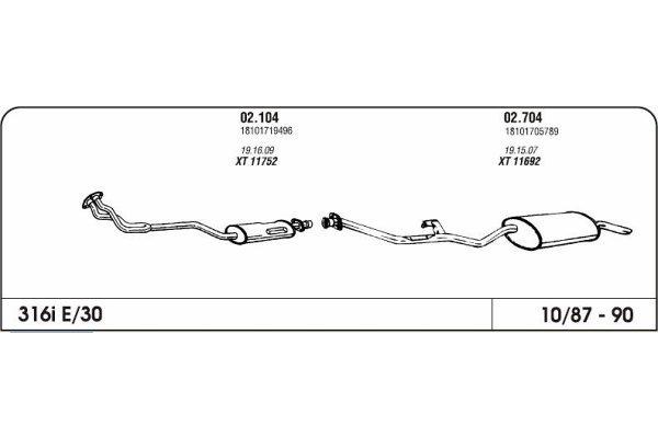 Izduvni lonac BMW 3 E30 1.6 87-91 (zadnji)