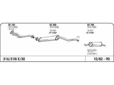 Izduvni lonac BMW 3 E30 1.8 82-87-(zadnji)