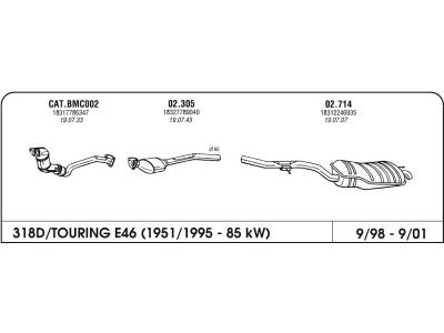 Izduvni lonac BMW 3 E46 1.8 98-05 drugi kat.