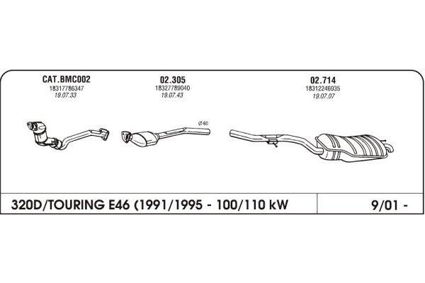 Izduvni lonac BMW 3 E46 2.0 98-05 drugi kat.