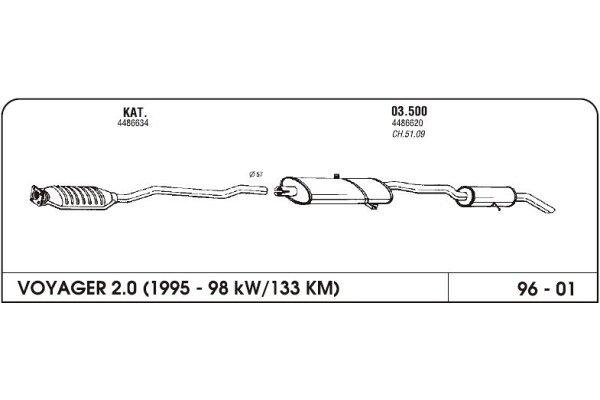 Izduvni lonac Chrysler Voyager II 2.0/3.3 97-(komplet)