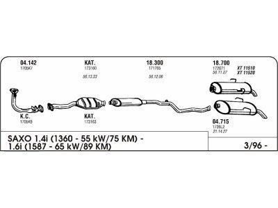 Izduvni lonac Citroen Saxo 1.4/1.6 96 prednji