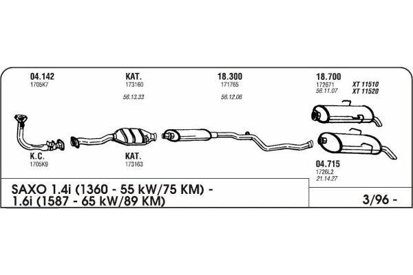 Izduvni lonac Citroen Saxo 1.4/1.6 96 (zadnji)