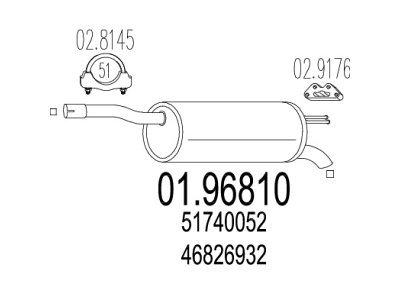 Izduvni lonac Fiat Doblo 01- 1.3  D/ 1.9 JTD / 1.9 D, (zadnji)