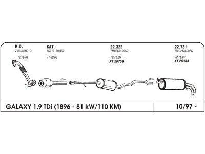 Izduvni lonac Ford Galaxy 1.9 95- (srednji)