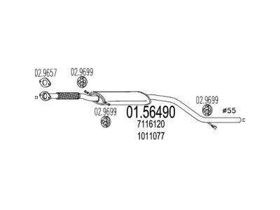 Izduvni lonac Ford Mondeo -96 1.8 TD, (srednji)