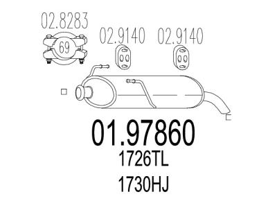 Izduvni lonac Peugeot 206+ 09-, (zadnji)
