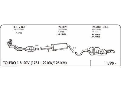 Izduvni lonac Seat Toledo II 1.8 99- (srednji)