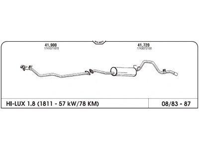 Izduvni lonac Toyota Hi-lux 1.8-2.2/2.4 D 83- (zadnji)