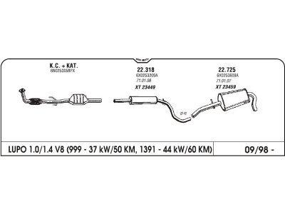 Izduvni lonac Volkswagen Lupo 1.0/1.4 97- (zadnji)