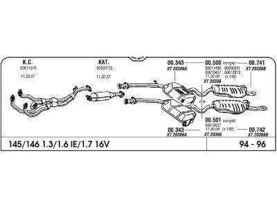 Izpuh Alfa Romeo 145 1.3/1.6/1.7 16V 94 izhodna cev