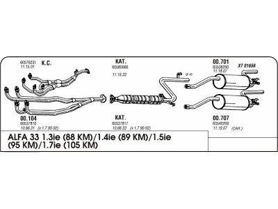 Izpuh Alfa Romeo 33 1.3 91 zadnji