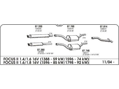Izpuh Ford Focus 04- izhodna cev