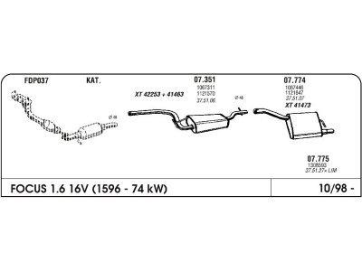 Izpuh Ford Focus 98- 1.6 16V HB zadnji