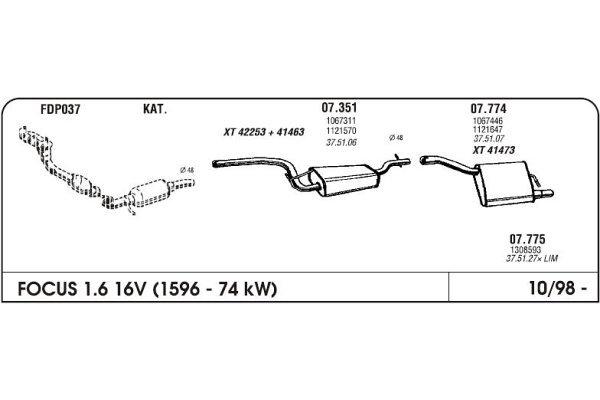 Izpuh Ford Focus 98- 1.6 16V kolektor z gibljivo cevjo