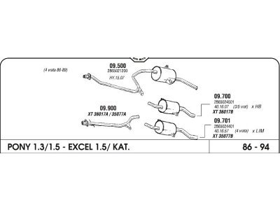 Izpuh Hyundai Pony 1.5 S 90-95 zadnji