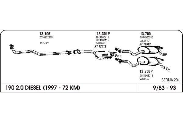 Izpuh Mercedes W201 84-93 kolektor