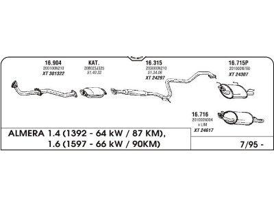Izpuh Nissan Almera 1.4/1.6 95- srednji