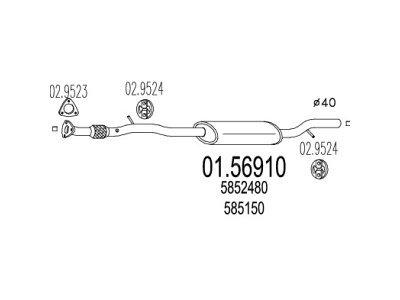 Izpuh Opel Agila 00-07 1.0 12V , srednji lonec