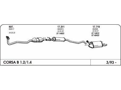 Izpuh Opel Corsa B 1.2/1.6 93-00 prednji
