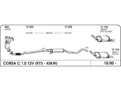 Izpuh Opel Corsa C 1.0 00 srednji
