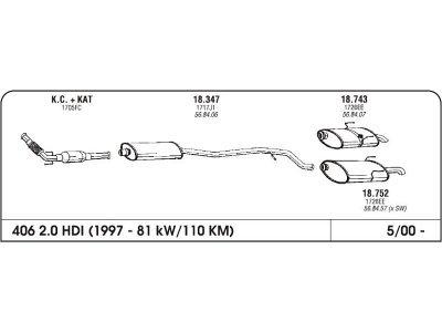Izpuh Peugeot 406 HDI 2.0 00- zadnji