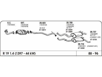 Izpuh Renault 19 1.4/1.8/1.9 88-96 zadnji