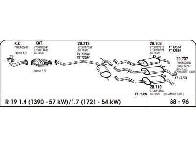 Izpuh Renault 19 1.4/1.8 88-96 prednji