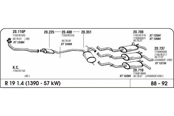 Izpuh Renault 19 1.4 88-92 kolektor