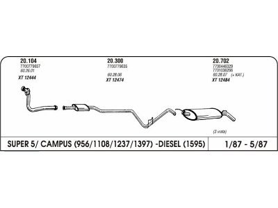Izpuh Renault 5 Campus 87-94 prednji