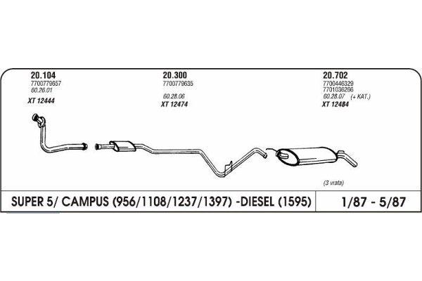 Izpuh Renault 5 Campus 87- kol.cev eno.