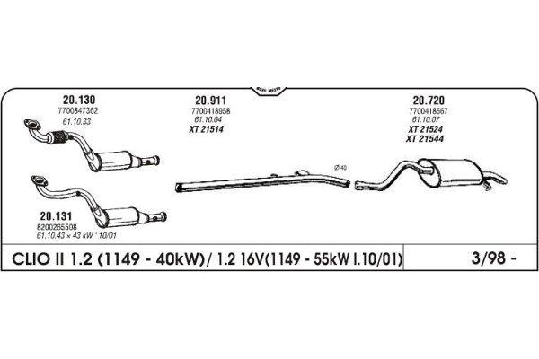 Izpuh Renault Clio II 1.2 98- cev
