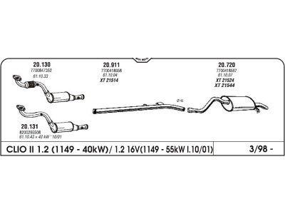 Izpuh Renault Clio II 1.2 98- zadnji