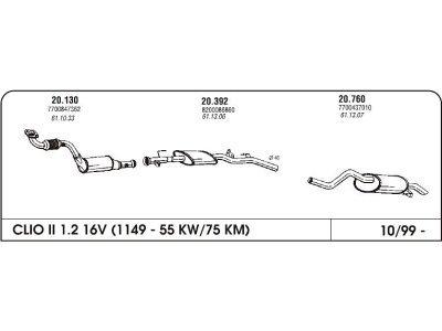 Izpuh Renault Clio II 1.2 99- zadnji