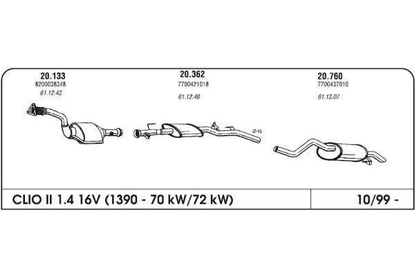 Izpuh Renault Clio II 1.4 99 99- srednji