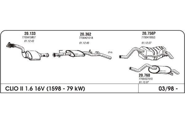 Izpuh Renault Clio II 1.6 02-05 katalizator