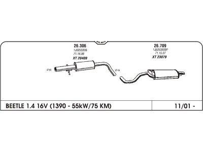 Izpuh Volkswagen Beetle 1.6i 00- srednji