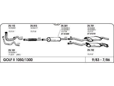 Izpuh Volkswagen Golf II CL-JX 1.0/1.3 83- kol.enojni