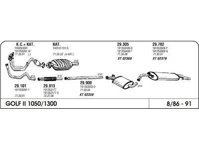 Izpuh Volkswagen Golf II CL-JX 1.0/1.3 83- vm.cev