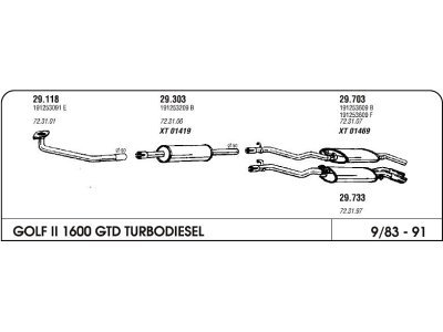 Izpuh Volkswagen Golf II GTD 1.6 TD 83-91 zadnji