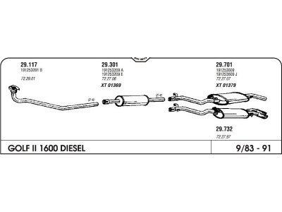 Izpuh Volkswagen Golf II JXD 1.6D 83- prednji
