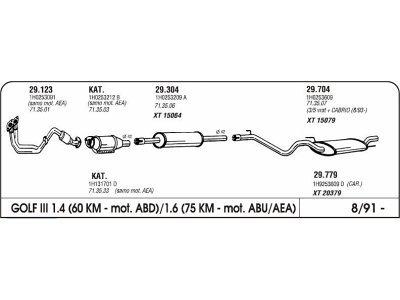 Izpuh Volkswagen Golf III 1.4/1.6 91- srednji