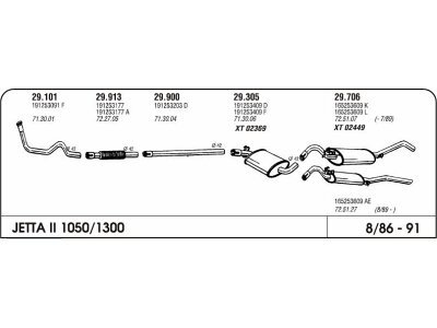 Izpuh Volkswagen Jetta II CL-JX 1.0/1.3 83- kol.enojni