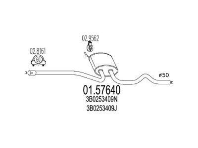 Izpuh Volkswagen Passat 96-00, 1.8 / 1.9 TDI , srednji lonec