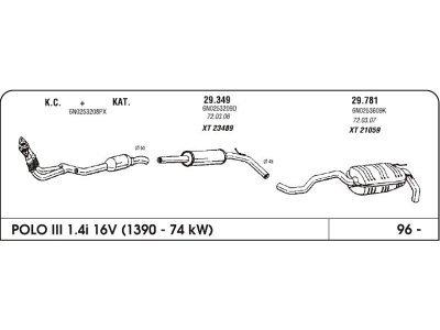 Izpuh Volkswagen Polo III 1.4 96- zadnji